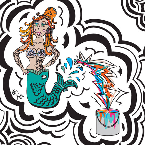 Paint Can Mermaid