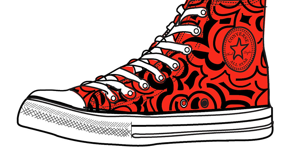 Mens 1-Color Red Custom High Tops