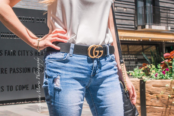 $7 Scalloped Edge Top & Gucci Belt