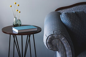 Blue Couch and End Table