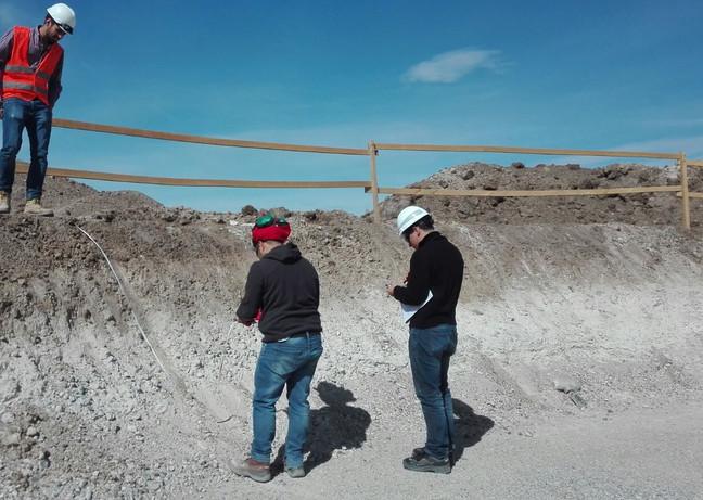 Geologist inspecting