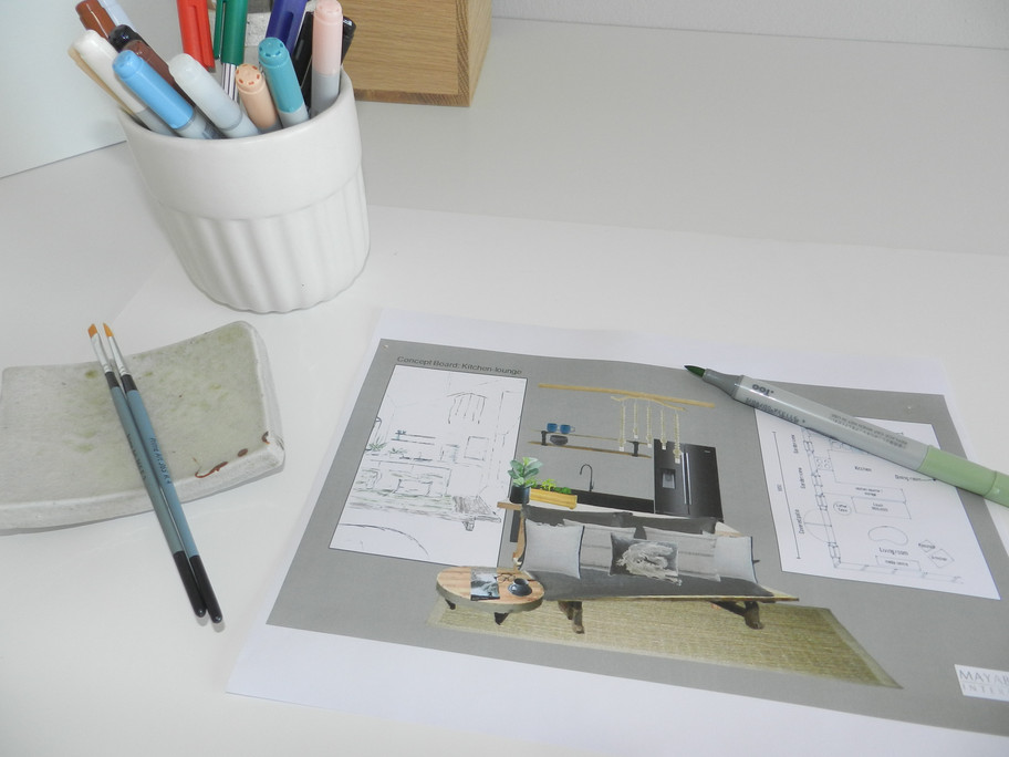 Concept boards with images and layouts will help you visual the space.