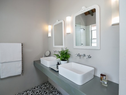 Renovated bathroom with classic, timeless elements.