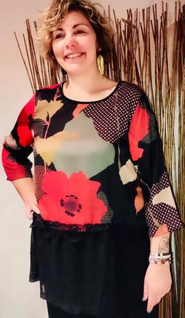 tunique-motif fleurs rouge-dentelle-malo