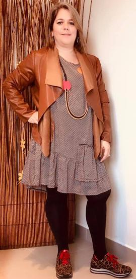 robe-motifs-g'oze-blouson simili-camel-m