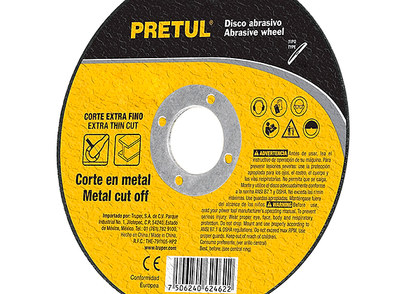"DISCO DE CORTE DE METAL EXTRA FINO 4-1/2"" 1MM PRETUL MOD:DICOF-4510P"