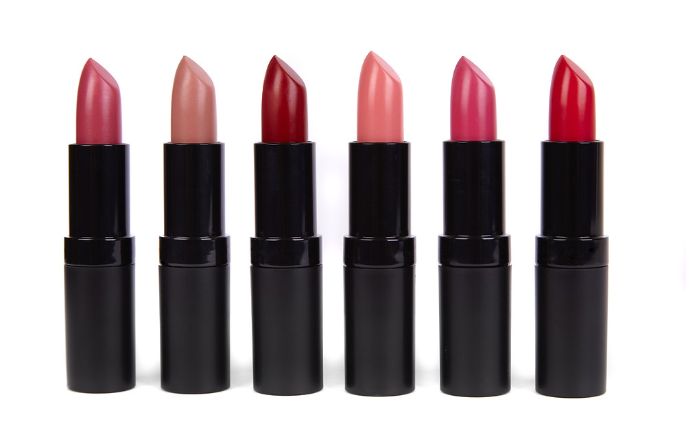Red pink and nude lipsticks