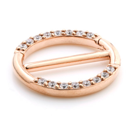 Rose Gold PVD Pave Swarovski Double Hinge Steel Nipple Clicker