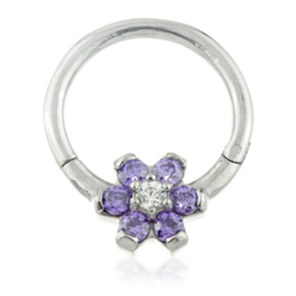 1.2mm Steel Forward Flower Gem Hinged Micro Ring with Coloured Petals