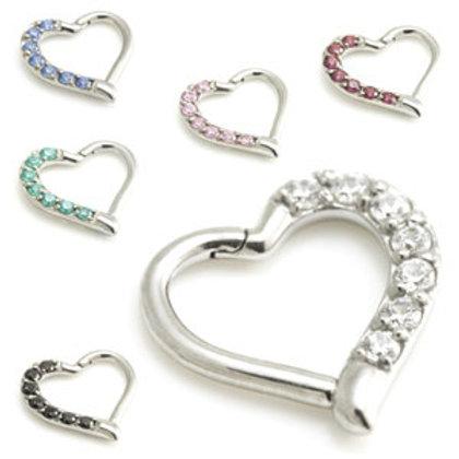 1.2mm Steel Multi Gem Hinge Heart Ring