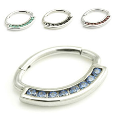 1.2mm Steel Hinge Gem Daith Ring