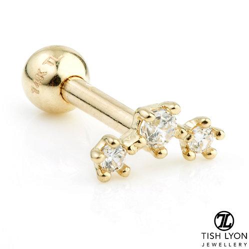 TISH LYON® Gold Crecent 3 Gem Star Micro Barbell