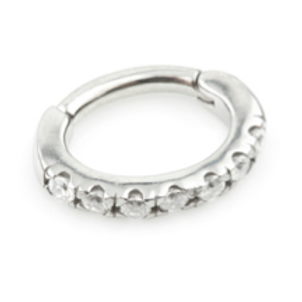 Steel Pave Gem Rook Ring