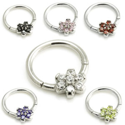 1.2mm Steel Forward Flower Gem Hinged Micro Ring