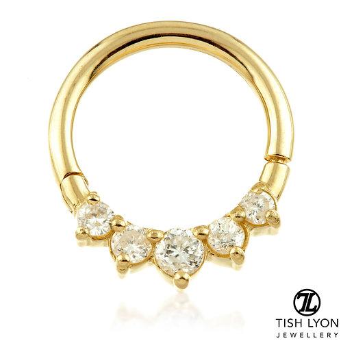TISH LYON® - Front Facing Gem Hinge Segment Ring