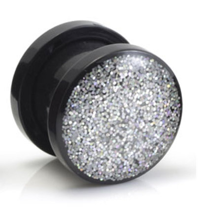 Resin Coated Silver Glitter Acrylic Tunnels. Two-Piece Tunnel With Screw Back -