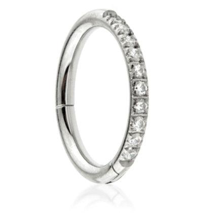 1.2mm Half Pavé Gems Hinged Micro Ring