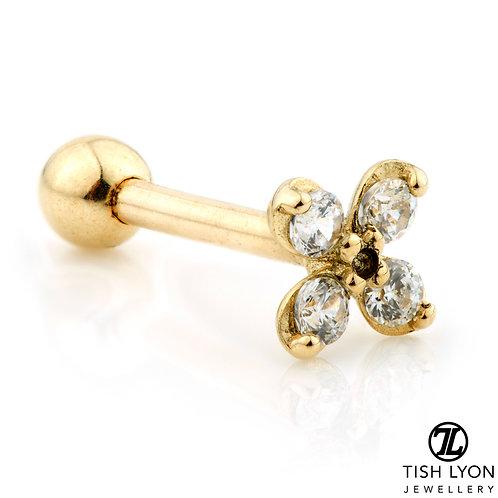 TISH LYON® Gold Monagram Gem Flower Microbar