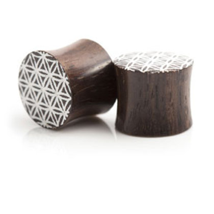 Wooden Geometric Plug - Sold In Pairs