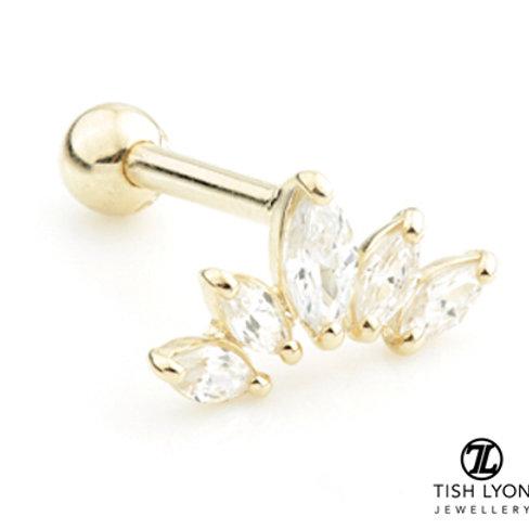 TISH LYON® Gold CZ Marquise Crescent Microbar