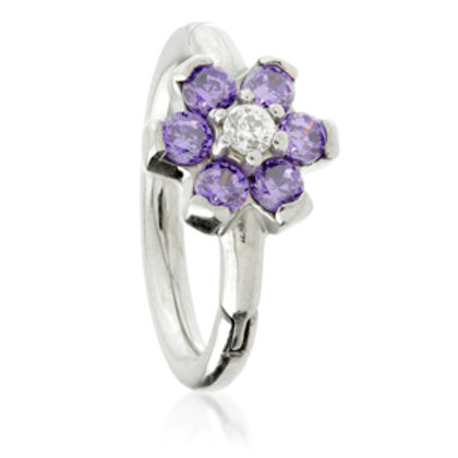 1.2mm Steel Flower Gem Hinged Micro Ring with Coloured Petals