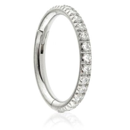 1.2mm Pavé Gems Hinged Micro Ring