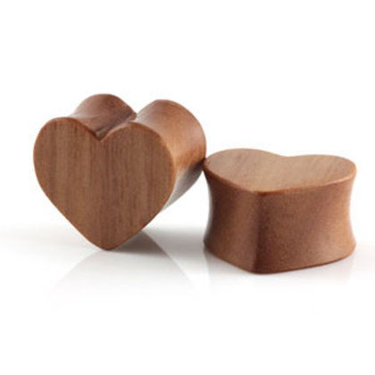 Hand Carved Sawo Wood Heart Shaped Plugs - Sold In Pairs