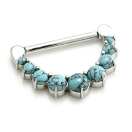 Cast Steel Nipple Clicker with Turquoise Gems