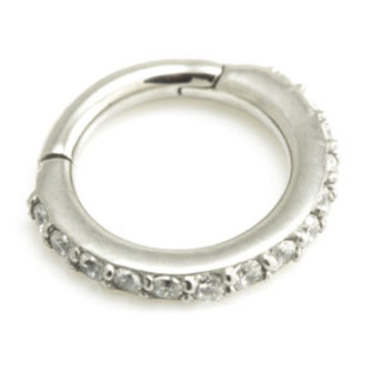 1.2mm Small Steel Pavé Gems Hinged Micro Ring