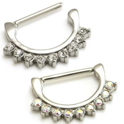 Cast Steel Nipple Clicker with Swarovski Crystal Gems
