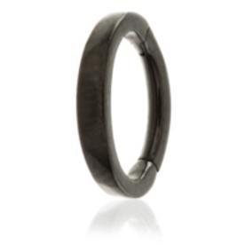 Black PVD Steel Hinge Flat Rook Ring