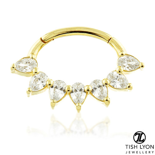 TISH LYON® - Multi Pear Shape Swarovski Jewelled Daith Ring