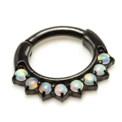 1.2mm by 6mm Steel Hinged Synthetic Opal Steel Septum Ring - 8 Stone
