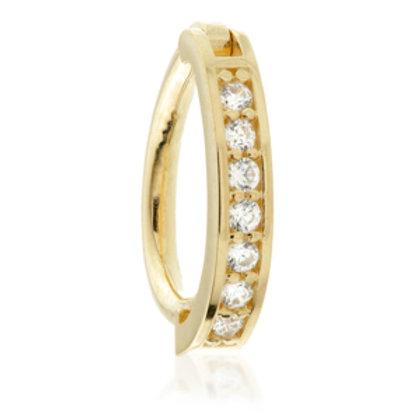 TISH LYON® - Gold Pavé Oval Gem Hinge Rook Ring
