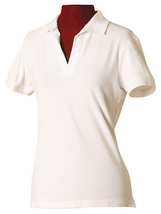 View WS Ladies White Polo with logo