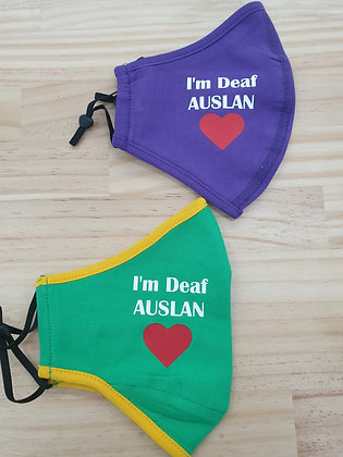 Printed 2 Ply Adjustable Mask - with wording: I'm Deaf AUSLAN with red Heart