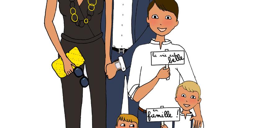 Illustration personnalisée 5 personnes