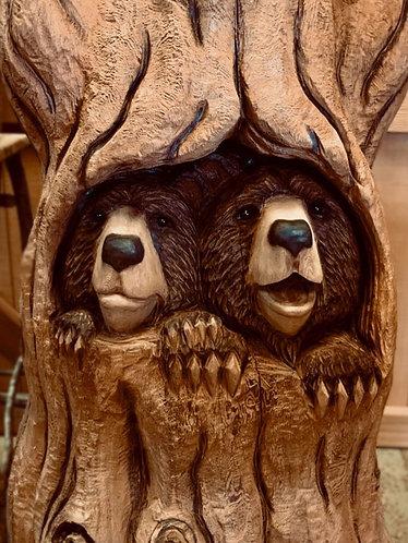 Carved Bears in Tree Stump detail
