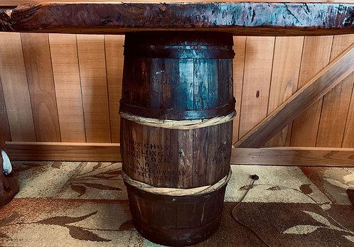 Sake Barrel Redwood Table side