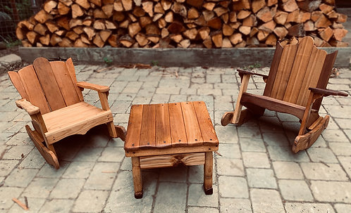 Adirondack rocking chairs and table