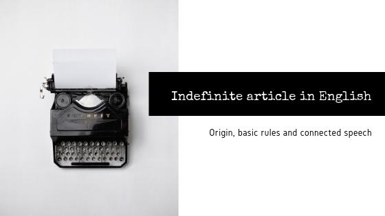Artigo indefinido em inglês