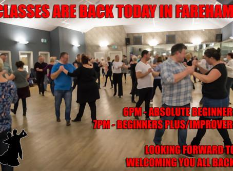 Classes finally return tonight in Fareham, Sunday 26th July!