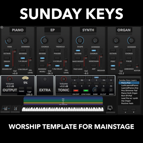 New Release for Dfaltsound's Sunday Keys for MainStage 3