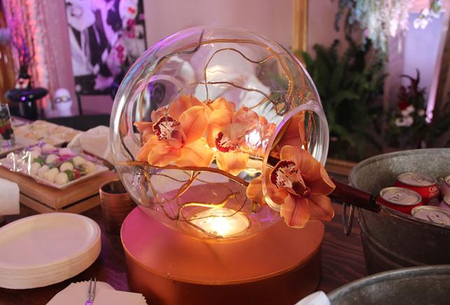 Orange Orchid Terrarium w Fairy Lights.j