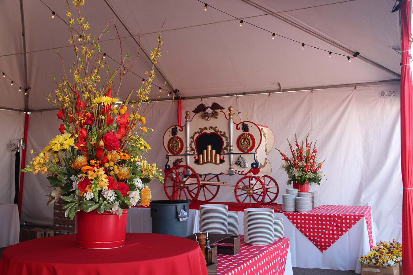 Large Tall Red and Yellow Floral Food St