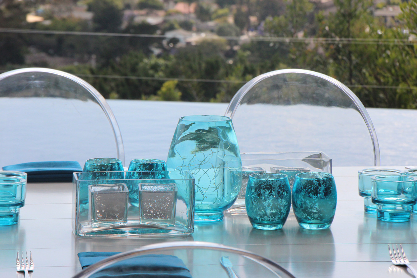 Non Floral Turquoise and Silver  Modern