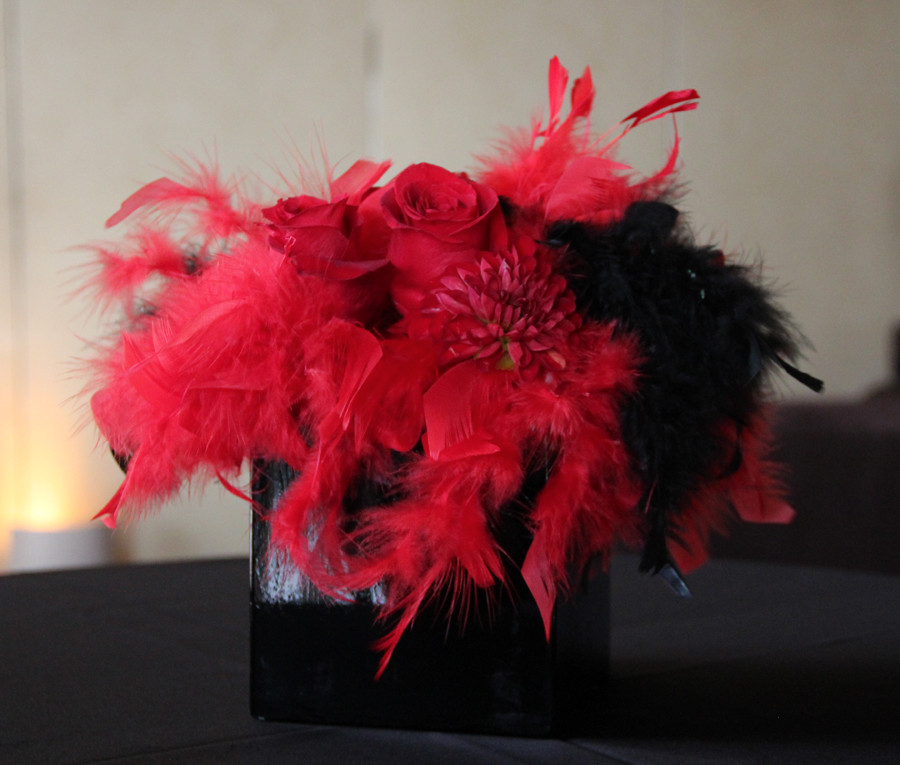 $50 Red and Black Feathers Centerpieces.
