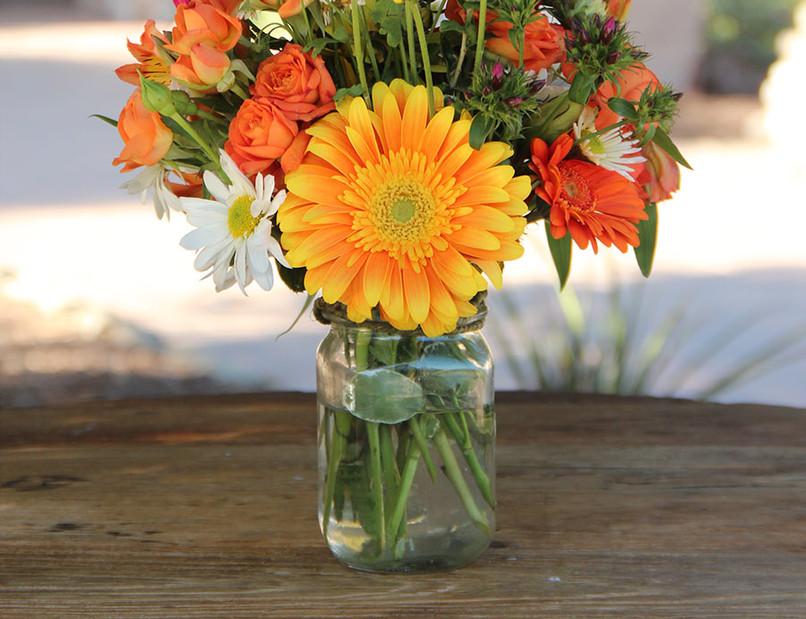 Orange Rose and Gerber Daisies w Glass V