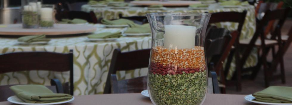 Candle & Beans Centerpiece