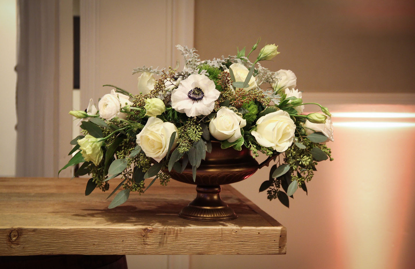 White and Green in Gold Urn 1.jpg